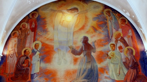 11a. Hołd Sercu Jezusa składają święci czciciele (fresk, Paray-le-Monial)